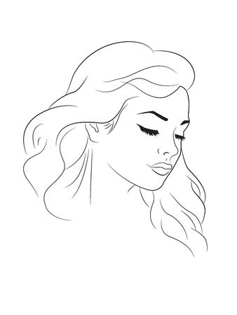 Outline drawing of a young woman head