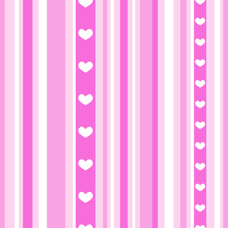 A picture of seamless pink stripes with hearts Illustration
