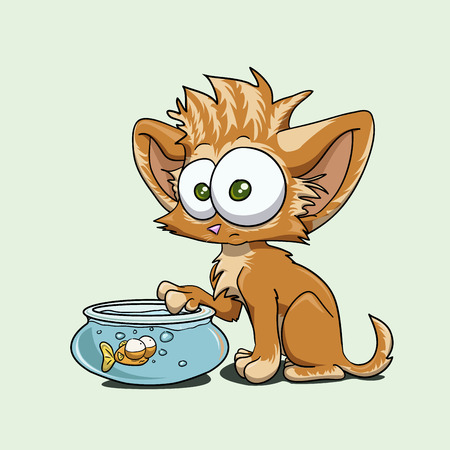 A cartoon funny kitten with a fish in an aquarium Vector