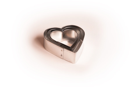 metall: Valentines Day background with three metall hearts 3 Stock Photo