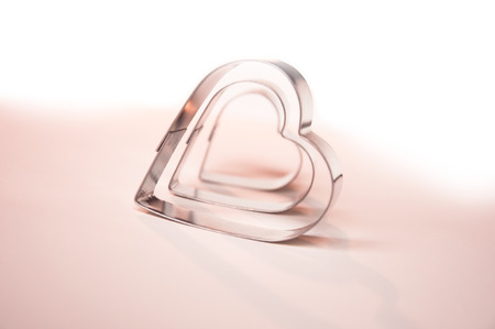 metall: Valentines Day background with three metall hearts 5 Stock Photo