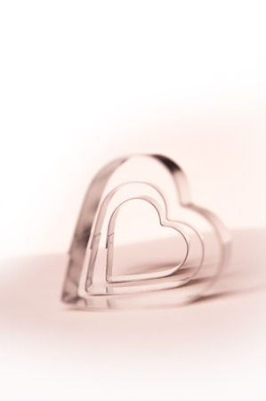 metall: Valentines Day background with three metall hearts 6