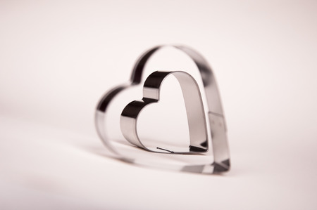 metall: Valentines Day background with two metall hearts 9
