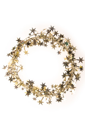 Christmas garland with golden stars on a white background