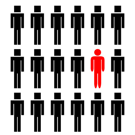 chosen: One different red rounded man among another square people
