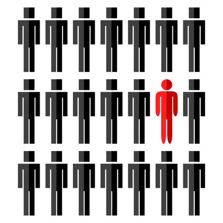 One different red rounded man among another square people