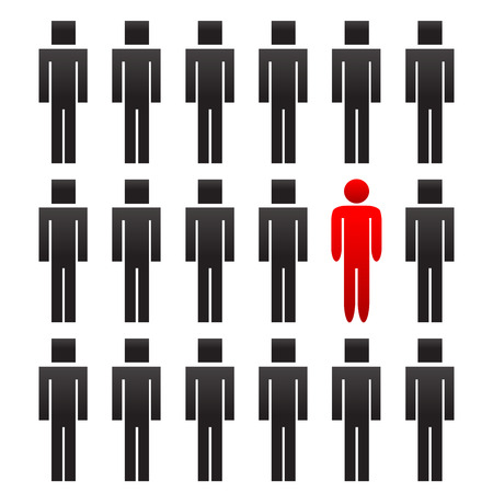 One different red rounded man among another square people Vector