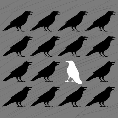 chosen one: white crow among black crows on a grey background