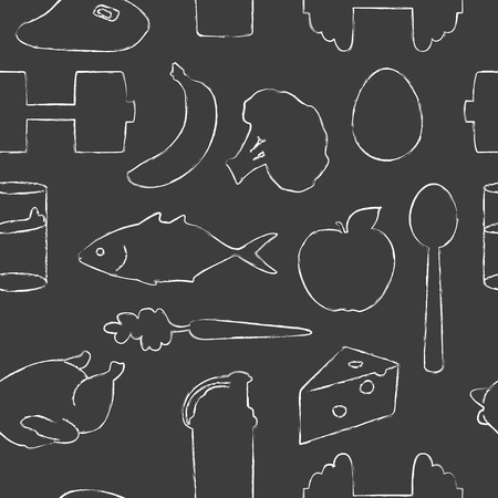 Seamless pattern with drawn silhouettes of healthy food, shaker and two dumbbells