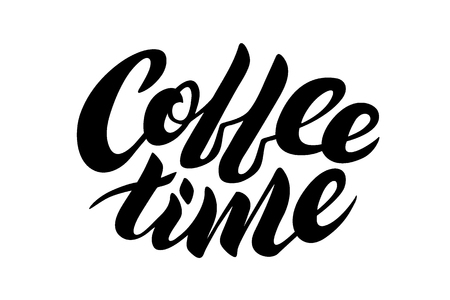 Coffee time. Hand drawn typography. For greeting cards, Valentine day, wedding, posters, prints or home decorations.Vector illustration