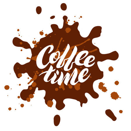 Coffee time lettering inside of a blot Stock Photo
