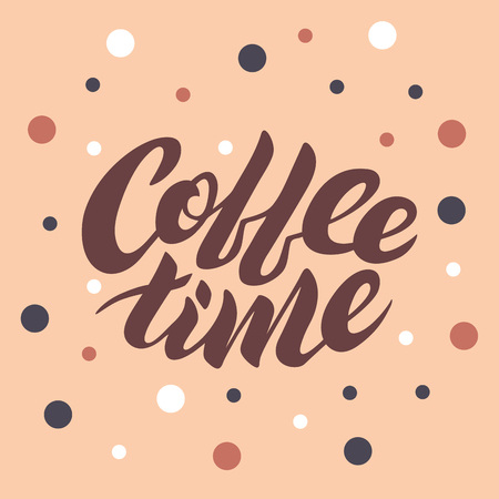 Coffee time lettering on a pink background with dots Stock Photo