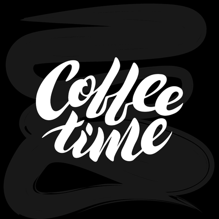 Coffee time white vector lettering on a black chalk board