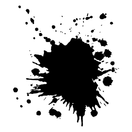 Abstract background, black ink splash, grunge vector design template