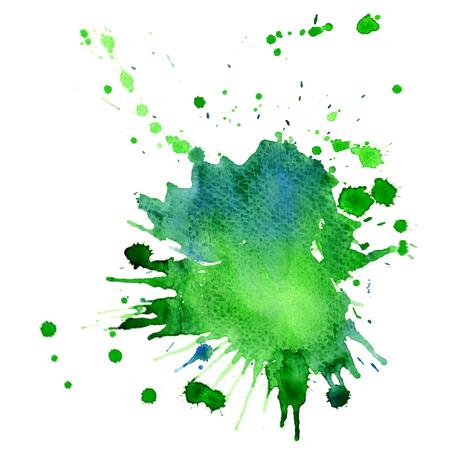 Single big green-blue watercolor splash, with a paper texture, vector design