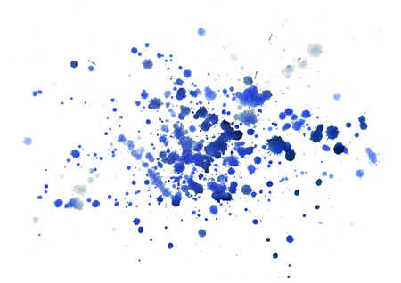 Many small blue watercolor splashes, vector design Stock Photo
