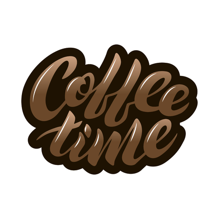 Coffee time brown icon vector lettering on a white background