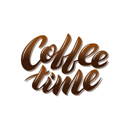 Coffee time brown vector lettering on a white background