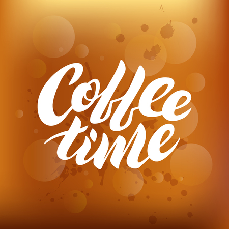 Coffee time white vector lettering on a brown gradient background