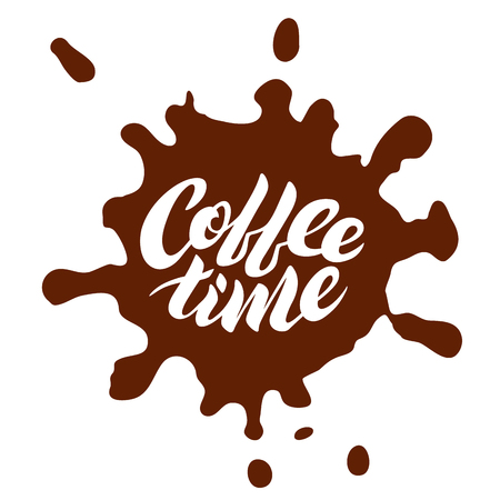Coffee time. Hand drawn typography. For greeting cards, posters, prints or home decorations.Vector illustration