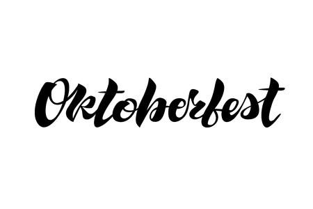 Oktoberfest simple black lettering simple design isolated Illustration
