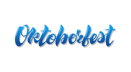 Oktoberfest simple blue lettering simple design isolated