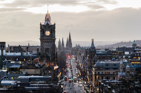 View of Princes street from Calton Hill, Edinbrugh