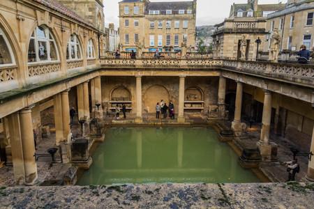 BATH, UK - DECEMBER 13 2017: Tourists visiting inside the Roman Baths on December 13,2017 in Bath, UK