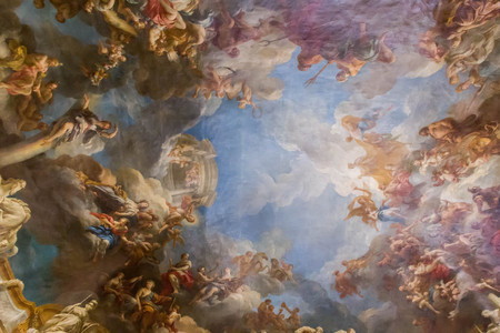 PARIS, FRANCE - MARCH 28 2018: Ceiling Painting in Hercules Room of the Palace of Versailles on March 28,2018 in Paris, France