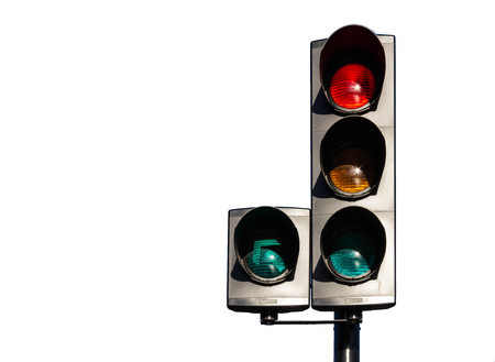 Isolated traffic lights on white background