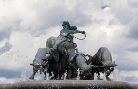 Statue of oxen driven by Norse goddess on Gefion fountain in Copenhagen, Denmark