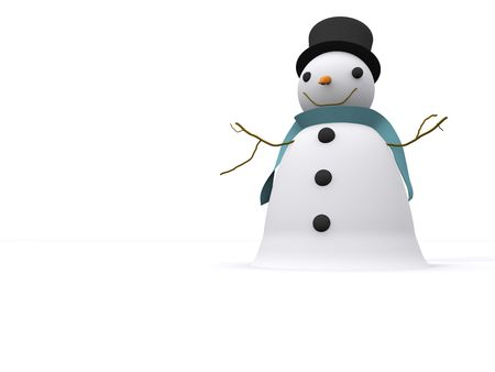 A snowman isolated in a snowed out scene photo
