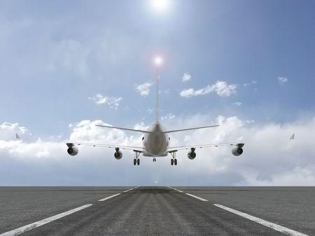 A plane landing photo
