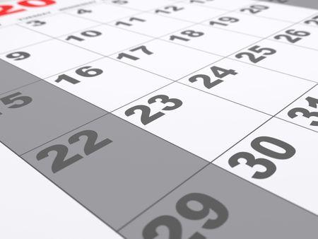 close range: A calendar shot at a close range Stock Photo