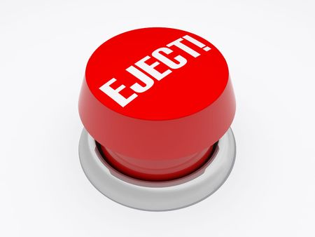 eject: a button with eject written on it isolated on white Stock Photo