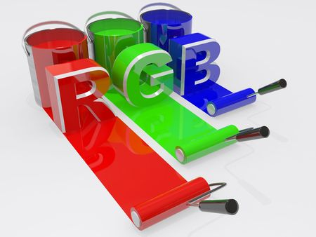 paint can: RGB text with paint and rollers  Stock Photo