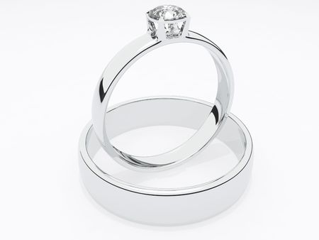Two rings isolated on white Фото со стока