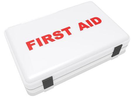 first aid box: un cuadro de primeros auxilios en blanco aislado en blanco