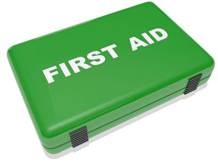 first aid box: un cuadro de primeros auxilios en verde aislado en blanco