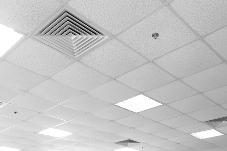 ceiling light: Fluorescent lamp on the modern ceiling Stock Photo