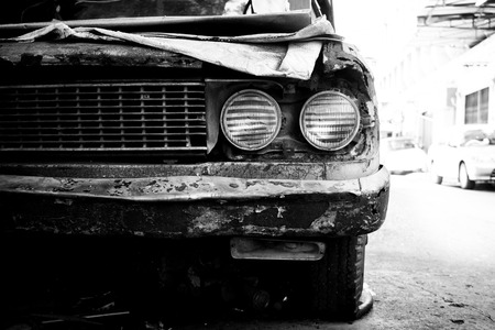 rusty car: Old rusty car headlight black and white color