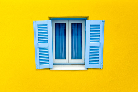 Greek Style Window On White Concrete Wall Color Stock Photo, Picture ...