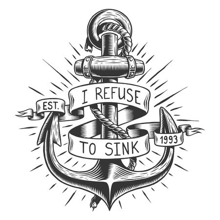 Oude vintage anker met touw en lint met tekst, citaat Stock Illustratie