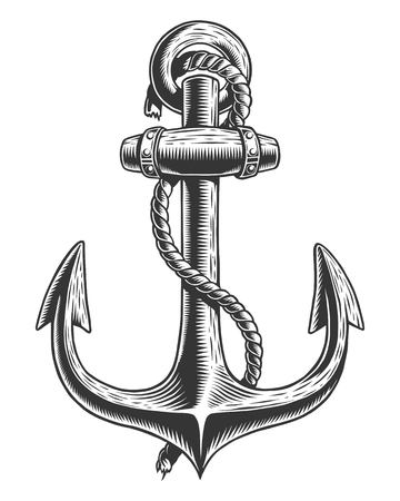 Old vintage anchor with rope nautical theme Çizim