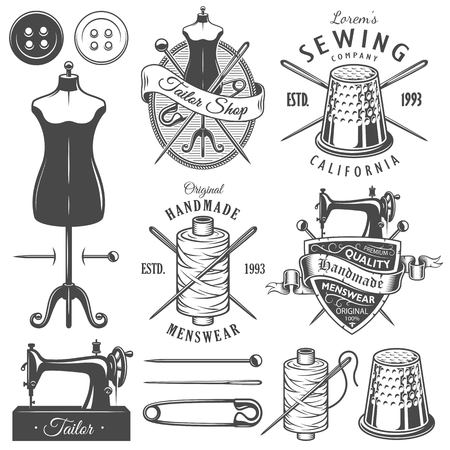 toolkit: Set of vintage monochrome tailor tools and emblems. Designer toolkit. Illustration