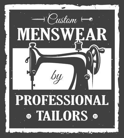 Etichetta sarto professionista con la macchina da cucire e struttura del grunge