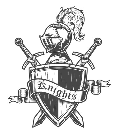Vintage knight emblem with knight helmet, crossed swords, shield and ribbon