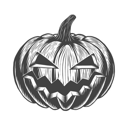 Black and white hand drawn halloween pumpkin. Isolated on white Illustration