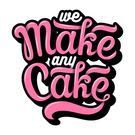 Hand drawn bakery lettering in calligraphy style Illustration