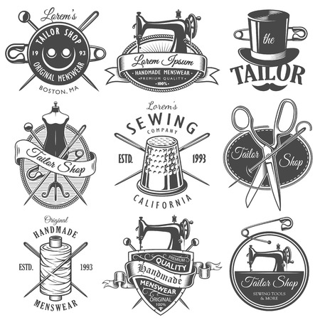 Set of vintage monochrome tailor emblems. Designer toolkit. Perfect for tailor, sewing companies and tailor shops logo, label, emblems and other signs Illustration